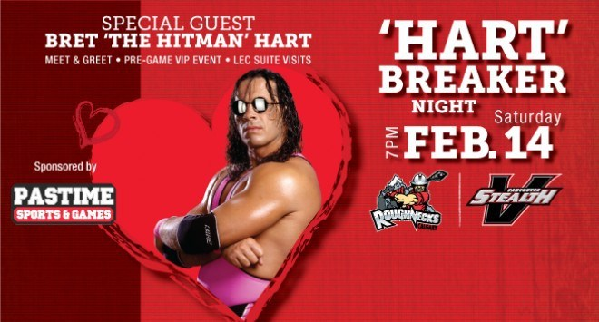 Wrestling legend Bret 'The Hitman' Hart will be the special guest at the Vancouver Stealth home game at the Langley Events Centre on Feb. 14.