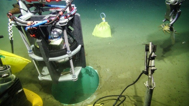 A Titan accelerometer is lowered to the sea floor in Barkley Canyon off Tofino to form the first node in a network of earthquake early warning sensors.