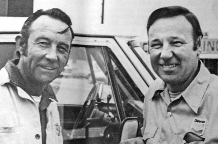 Walt (left) and Del Barron are shown outside their service station in 1979, in a photo taken for a Chevron Canada newsletter.