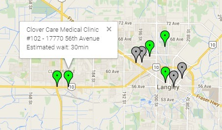 MediMap.ca shows users current waiting times at local walk-in clinics.