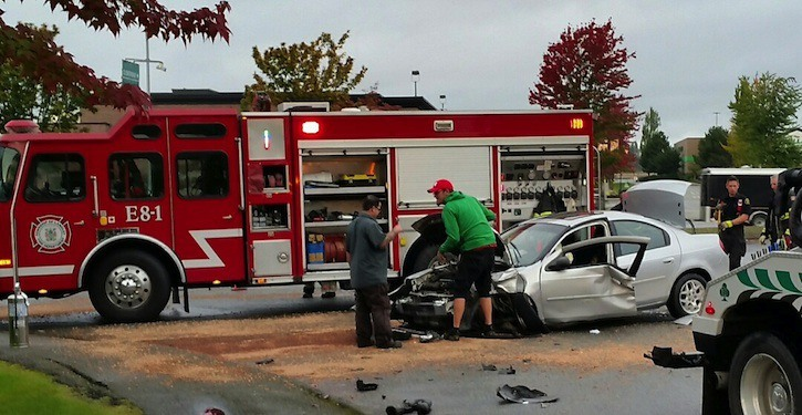 This vehicle was heavily damaged in crash with a pumper truck on 200 Street and 62 Avenue Thursday morning.