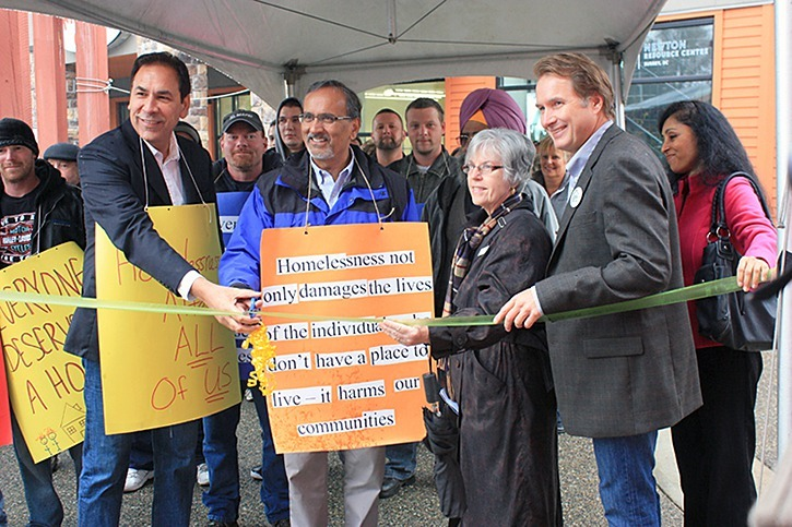 MLAs Jagrup Brar and Harry Bains took part in a ribbon cutting ceremony for the Sources Newton Resource Centre on Friday, Oct.12 to launch the annual Homelessness Awareness Walk.