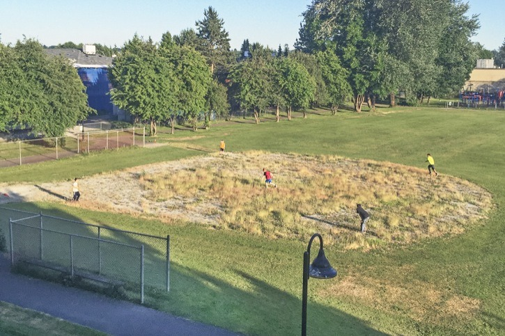 """Photographer Shawn Hibbs calls this baseball diamond """"the field of no dreams."""" Despite the lack of maintenance in the infield area, a group of Langley City kids enjoyed the play area over the weekend. The Langley City diamond is located at 20856 56 Avenue, between 56 Avenue and the Safeway store on the former Langley Central school site."""