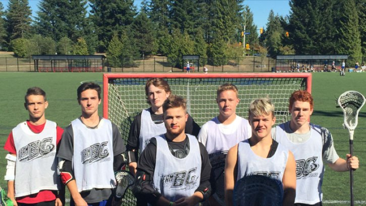 Langley will be well represented at the 2015 field lacrosse national championships in Nova Scotia as seven players have made Team B.C. Back row: Jordan Daniel (left to right), Caleb Pearson, Nathaniel Kozevnikov, Connor McNeill, Quinn McKitrick   Front: Levi Gallant and Thomas Rennie.