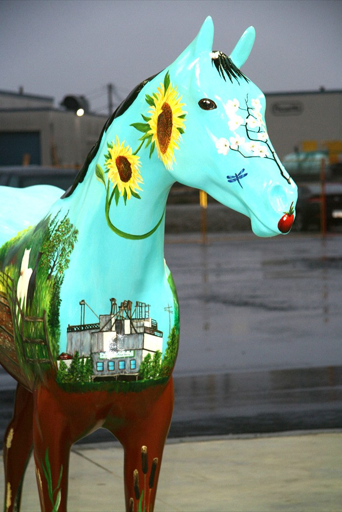 Colour Me Beautiful, by artist Louise Swan, is among the pieces that will be on display at Willowbrook Shopping Centre until Feb. 3, as part of the Horsing Around Langley exhibit. The Otter Co-op has provided $5,000 toward the sculpture, but the Langley Arts Council is still seeking another $5,000 in sponsorship funding.