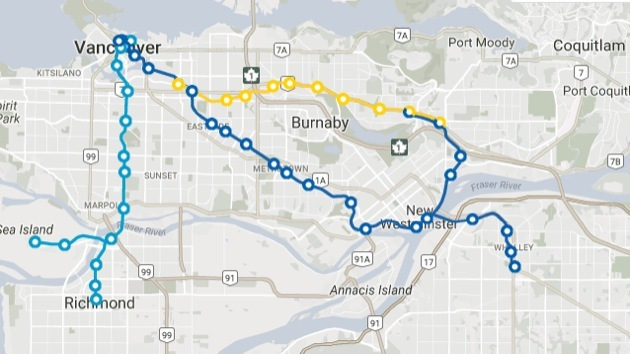 Map of how SkyTrain will run after Oct. 22.