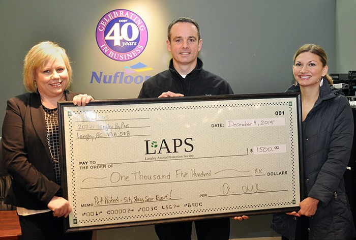 Athena Allen, sales manager of Nufloors presented a cheque for $1,500 to Sean Baker, executive director of Langley Animal Protection Society and Shelly Roche of Tiny Kittens. For the month of September, Nufloors donated a minimum of $1 per square yard from every pet protect carpet sold to the animal organizations.