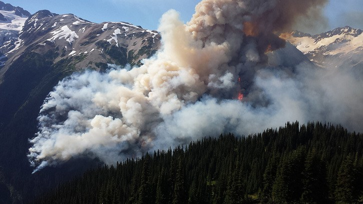 The Boulder Creek wildfire near Pemberton is one of the sources of smoke over southwestern B.C.