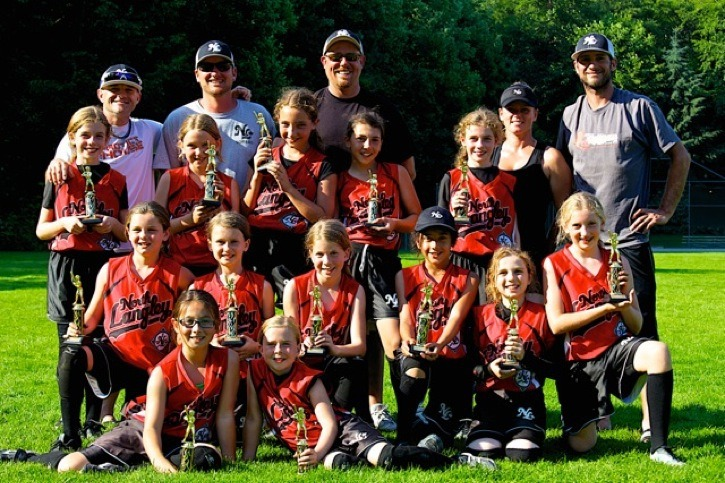 The North Langley Devils won bronze over the Canada Day long weekend at the provincial U10 championships in Burnaby. Top (left to right): Coaches – Steve Crone, Trevor Moreno, Chad McGlynn, Kim Payne and Sam Caskey Middle (left to right): Players – Rylee Baly, Brooklyn Dougans, Anna Rudetsky, Mikayla Tupper, and Makenna Baly Bottom (left to right): Players – Maya Moreno, Amber Caskey Abby McGlynn, Alysia Dickens, Nicole Nordal, and Hailey Bowsher and (right in front): Olivia Sing and Raya Crone.