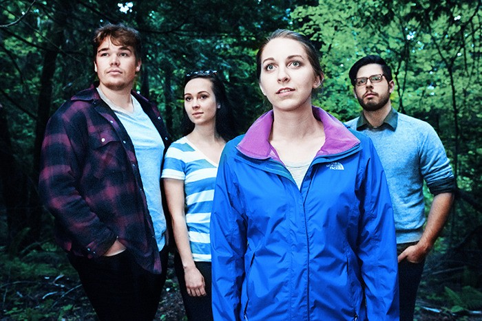 From left to right: Russell Blower as Logan, Amelia Ross as Paige, Geneva Perkins as Holly, and Josh Tompke as Travis in the upcoming production Such A Heart As Yours.