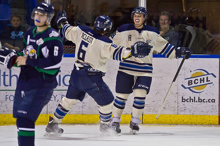Langley Rivermen's Mario Puskarich (right) is congratulated by teammate Mitch McClain after scoring one of his three goals in the Rivermen's 6-5 victory over the Surrey Eagles at the Langley Events Centre on Oct. 27.