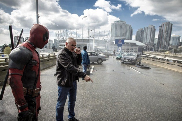 Ryan Reynolds and Tim Miller on the set of Deadpool in Vancouver.