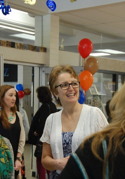 """Joan Knox – known to years of Brookswood students """"Mrs. Knox"""" – enjoys catching up with Brookswood Secondary alumni at the school's 40th anniversary celebration and open house, which was held Saturday (April 26). Knox has been teaching at the school since shortly after it officially opened its doors in 1974."""