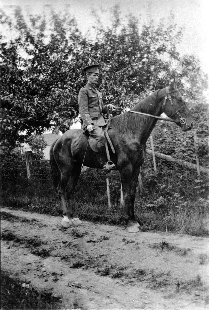Dr. Benjamin Marr, Langley's sole physician when the First World War broke out, first trained for and served in the cavalry before transferring to the Canadian Army Medical Corps. Below: George Ripley on horseback; Dave Lattimer; Art Johnston; Jessie Wright and Archie Payne.