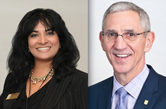 Surrey Board of Trade CEO Anita Huberman and Vancouver Board of Trade chair Tim Manning.