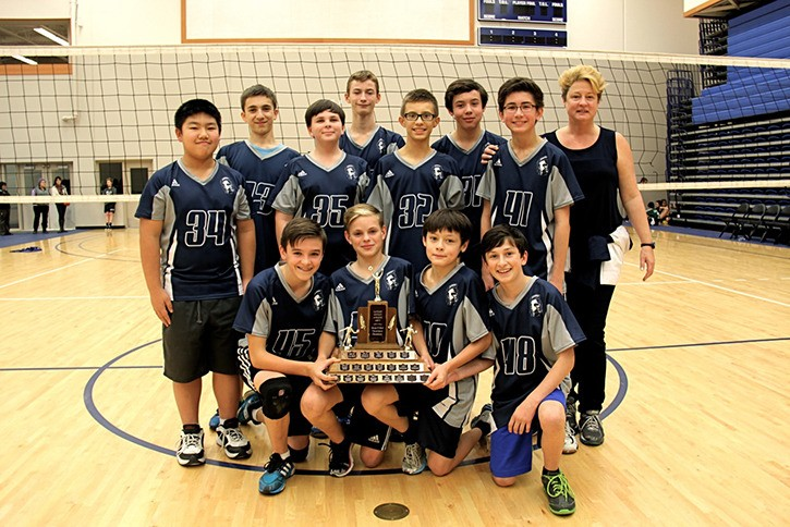 The Langley Fundamental Titans defeated the Langley Christian Lightning 3-1 in the Grade 8 boys district volleyball championship game.