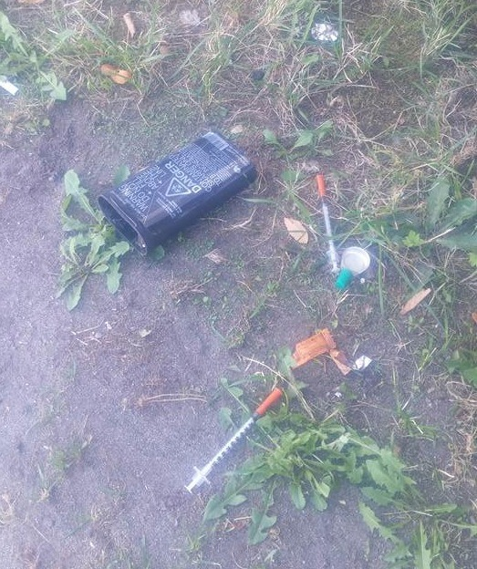 This needle disposal box and used needles was found near the parkade at  Cascades Casino in Langley City last week.