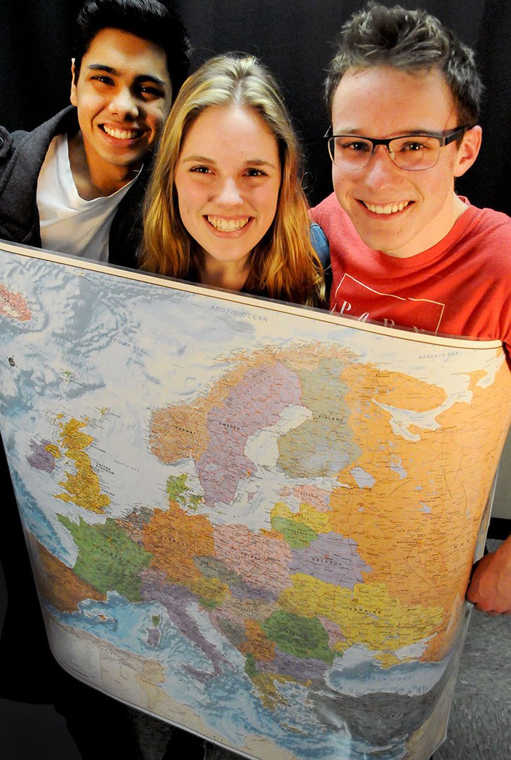Avnish Ramdour, Sydney Chapman, and Reece Doppenberg are among the students from Langley Fundamental Middle and Secondary School travelling to Romania during their spring break.