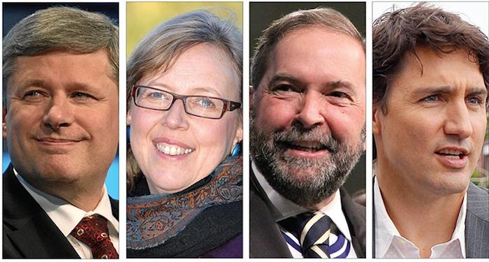 Conservative leader Stephen Harper, Green leader Elizabeth May, NDP leader Tom Mulcair and Liberal leader Justin Trudeau
