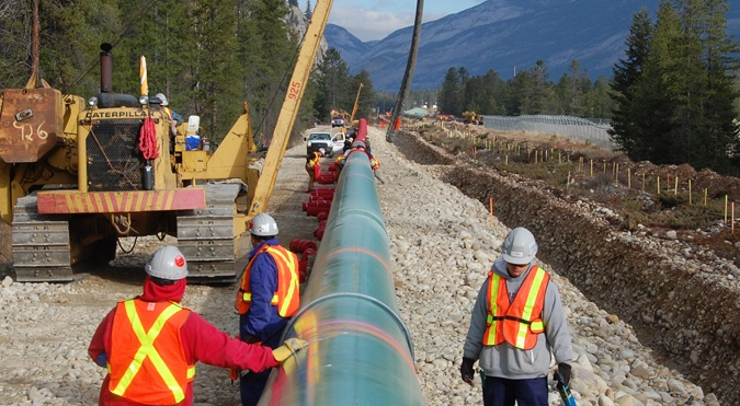 An already-twinned section of the Trans Mountain pipeline near Jasper.