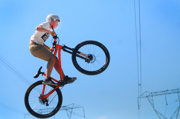 Twelve-year-old Owen Murray of Langley gets some airtime during the grand re-opening of the Penzer Bike Skills Park on Aug. 19. The bike park, which has jumps for all skill levels, was designed and built by ESP Parks.