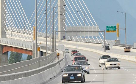 Traffic on the Golden Ears bridge. The two main political parties are promising to cut or reduce tolls if elected on May 9.                                File photo