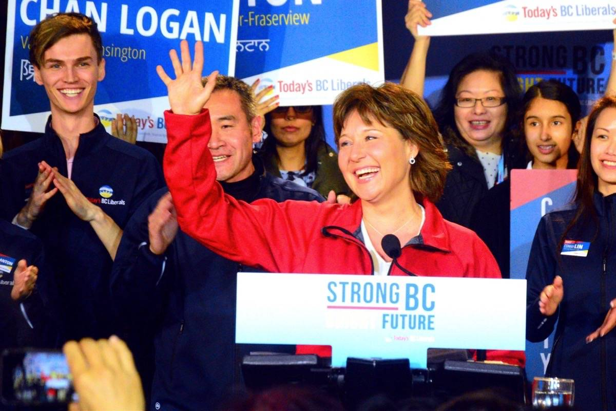 Christy Clark kicks off the BC Liberals' Vancouver campaign. (Katya Slepian/Black Press)