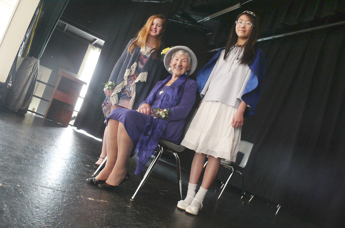 Langley royalty poses for a photo. L to R: 2017 May Queen Emerson Curtis, Queen Mum Mary Watt and 2016 Queen Chloe Park. The Queen and her court were chosen at the Sunday tea at the Fort Langley community hall.                                Dan Ferguson Langley Times