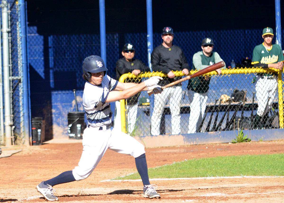 Langley Blaze's Gus Wilson had three hits and two RBIs in his team's 13-5 win over the Whalley Chiefs at the Whalley Athletic Park on May 18. Gary Ahuja Langley Times file photo