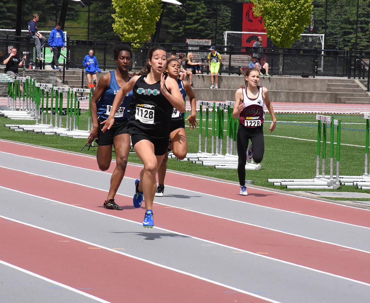 Walnut Grove's Jordan Jacobs won the junior girls 200m title at the Fraser Valley track and field championships last week in Coquitlam. Owen Munro Black Press