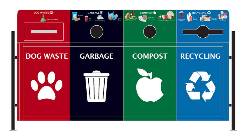 New sorted bins for public waste begins in Langley Township.