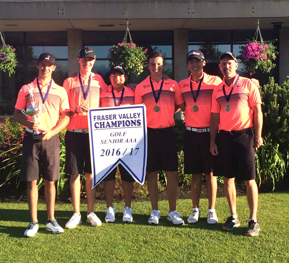 Brock Hertz (left to right), Ben Whiton, Andy Jang, Jackson Jacob, Jaewook Lee and coach Dana Ferguson. The Walnut Grove Gators captured the Fraser Valley senior AAA golf banner on May 25 at Richmond's Mayfair Lakes. Submitted photo
