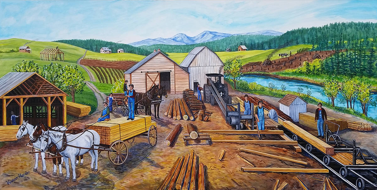 This past week Syd Pickerell and fellow volunteers from the B.C. Farm Museum have picked up all of the 32 mural panels that will be displayed at the museum 'till the end of time.' Aldergrove artist Vivian Harder painted six of the mural panels for the B.C. Farm Museum.                                Submitted photo
