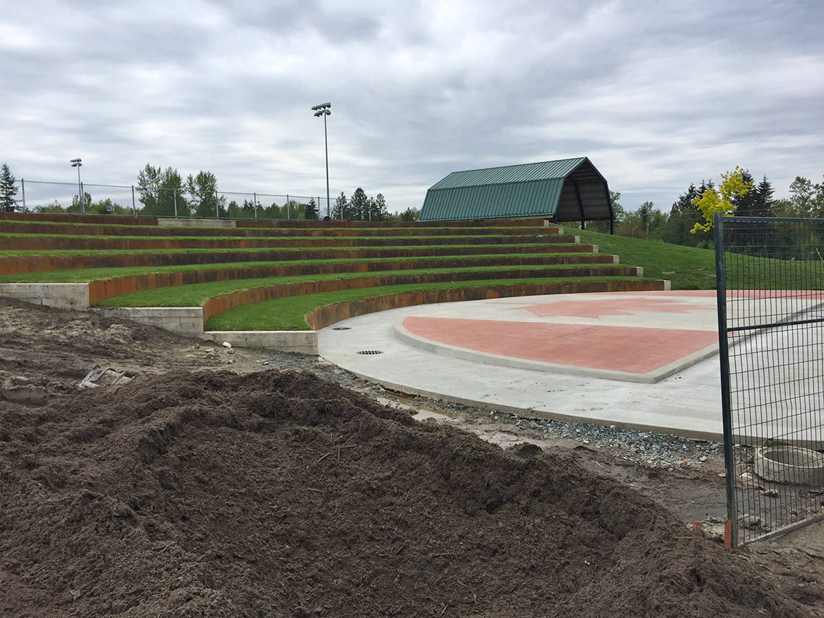 Work is underway to complete an amphitheatre for live performances at Willoughby Community Park in commemoration of Canada's 150th birthday. The new facility will be officially opened by the Township of Langley with a free community concert at 7 p.m. on Thursday, May 25.                                Submitted photo.
