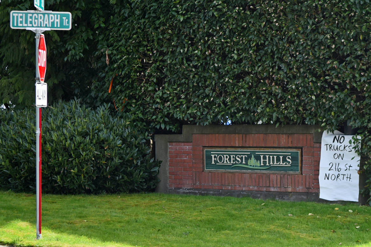 """A second sign on a different Forest Hills subdivision sign reads """"No trucks on 216th north."""" Miranda Gathercole Langley Times."""