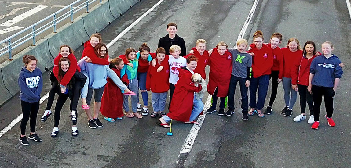 Twenty-seven members of the Langley Olympians Swim Club combined to win 64 medals at a swim meet in Victoria. Submitted photo.