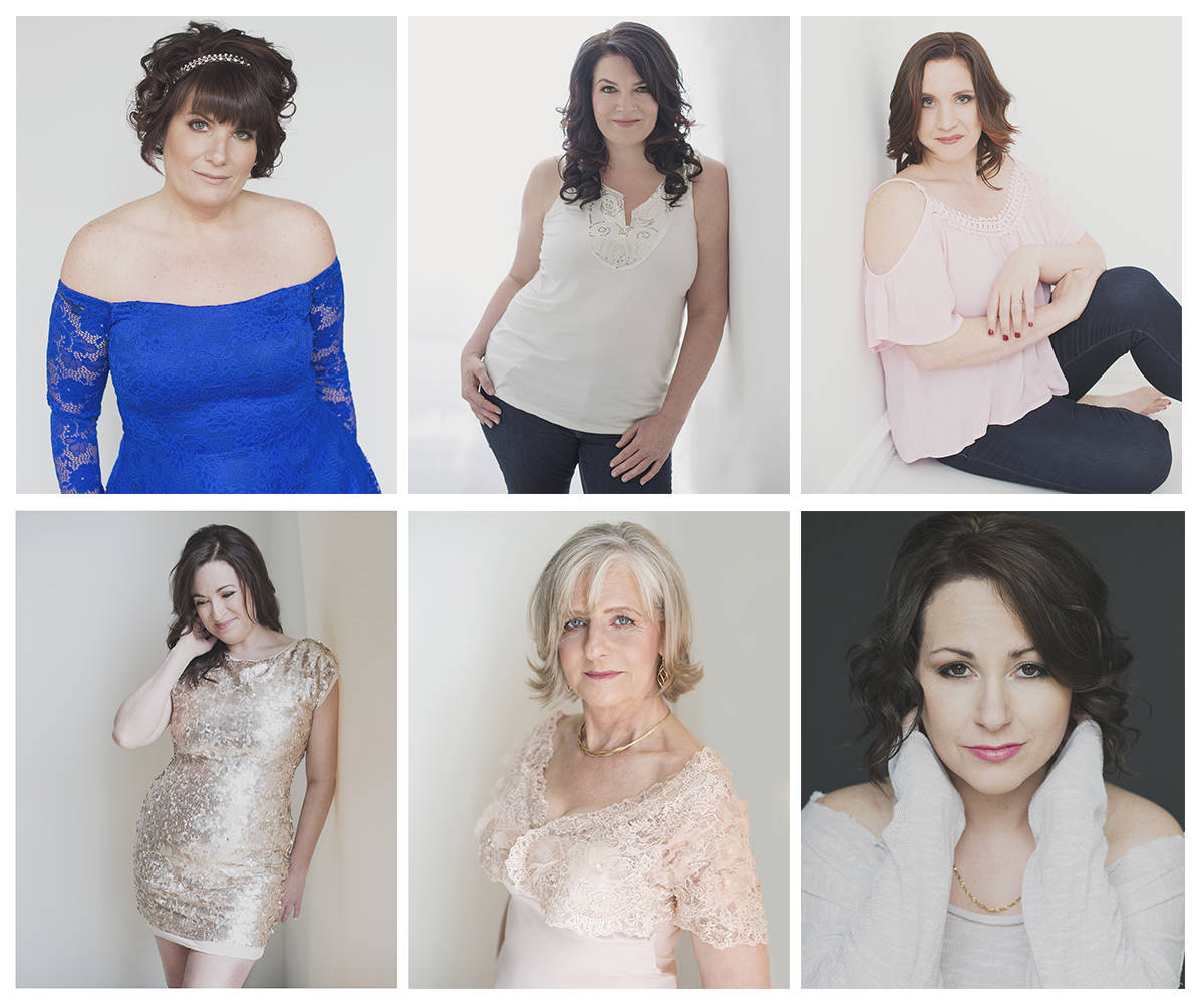 Langley's 2017 Total Makeover Challenge finalists, clockwise from top left: Bonnie Blanchard, Charlene Delmaestro, Erin Schwaiger, Tina Toal, Taryn Marcotte and Tammy Floyd.                                Submitted photos by Tarra Lee Photography