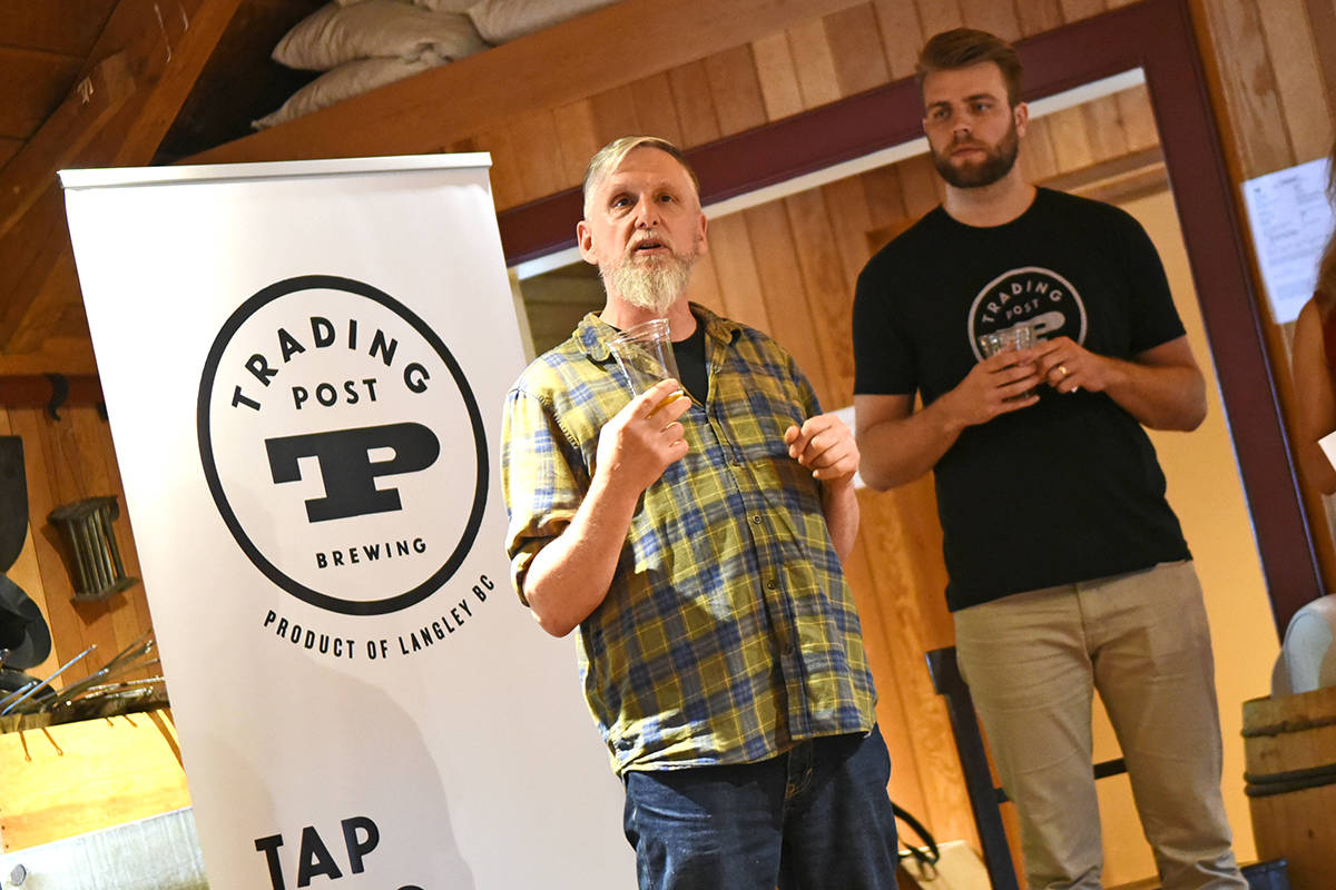 Trading Post master brewer Tony Dewalt explains the flavours in the brewery's new Canada 150 beer (pictured left).                                 Miranda Gathercole Langley Times