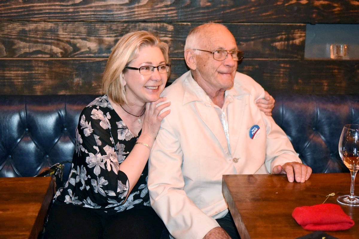 Mary Polak sat with her father as she watchedthe BC election results roll in on Tuesday. Polak, first elected in 2005, held onto her seat.                                Miranda Gathercole Langley Times