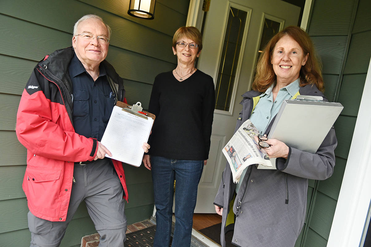 Murray McFadden, Elaine Desnoyers and Jane Robson are among a group of Brookswood residents petitioning for zero emissions at South Surrey's Campbell Heights business park.                                 Miranda Gathercole/Langley Times