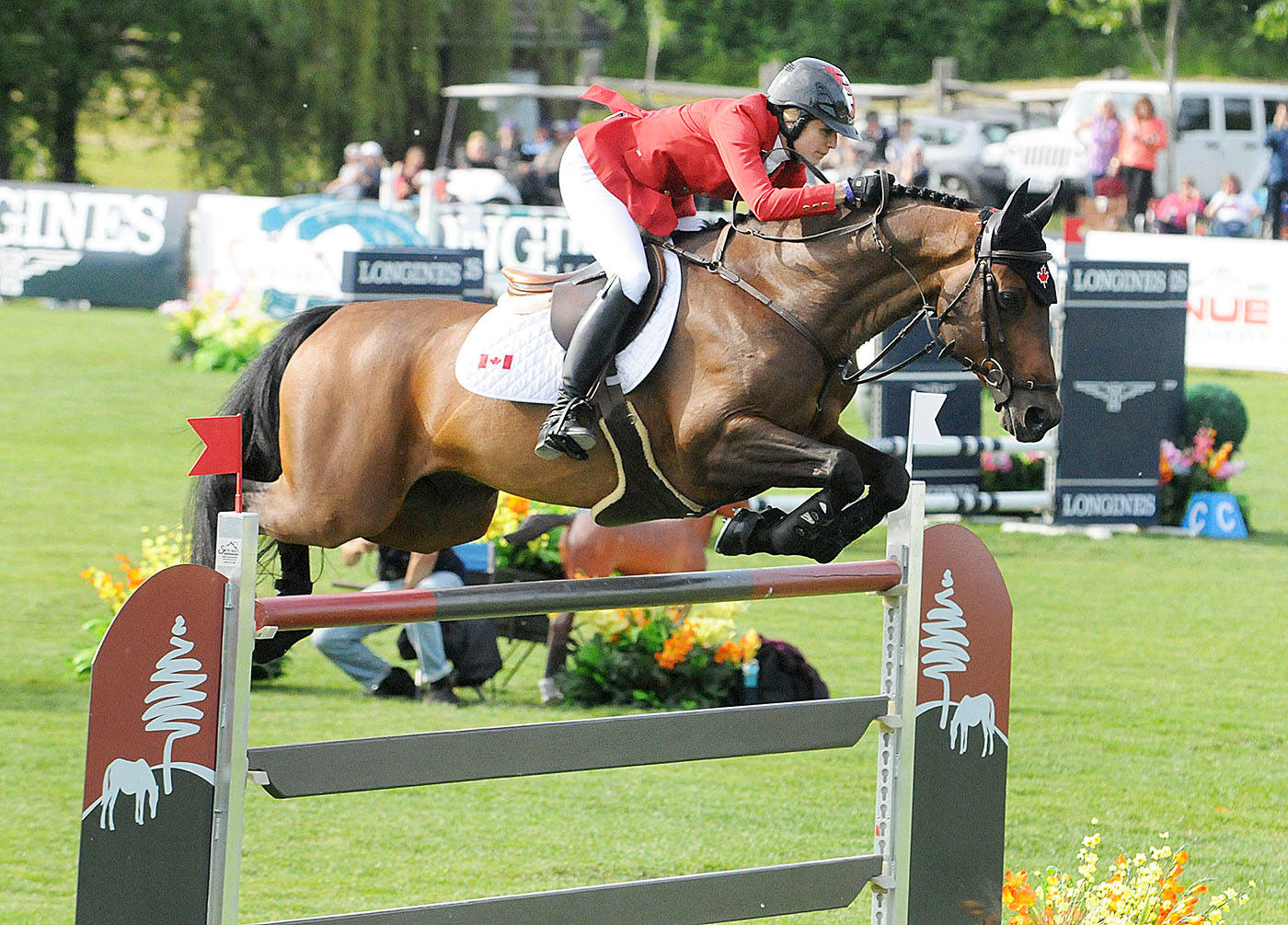 Team Canada's Tiffany Foster and her horse cleared a fence during the FEI Nations Cup at Langley's Thunderbird Show Park on Friday. Troy Landreville Langley Times