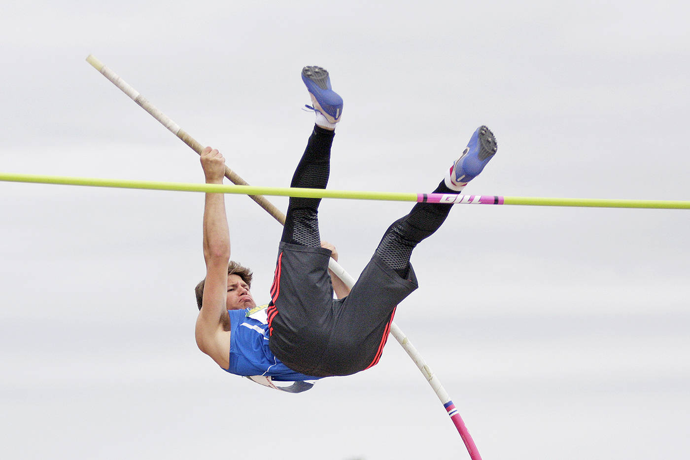 Ryan Togeretz of Credo Christian school in Langley tackled the pole vault. Dan Ferguson Langley Times