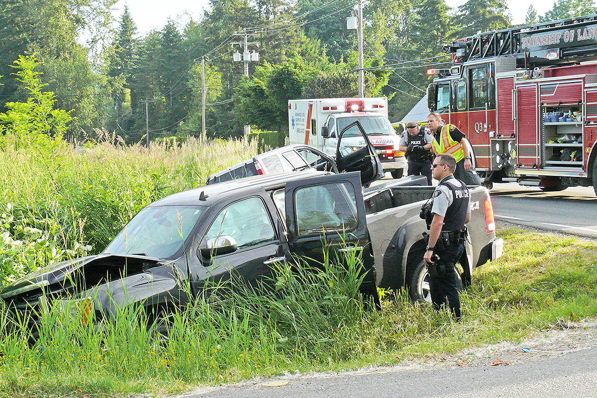 Two vehicles ended up in the ditch near 256 Street and 64 Avenue Tuesday morning. Dan Ferguson Langley Times