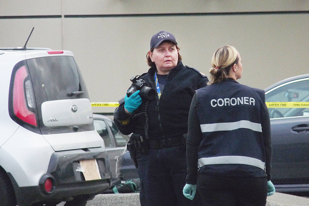 Forensic experts at the scene of Langley homicide. Dan Ferguson Langley Times