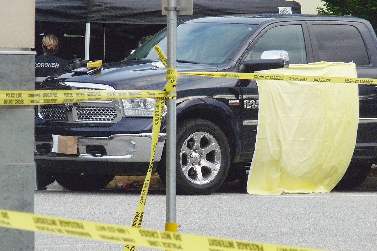 A pickup truck that appeared to be involved in the shooting incident.                                 Dan Ferguson Langley Times