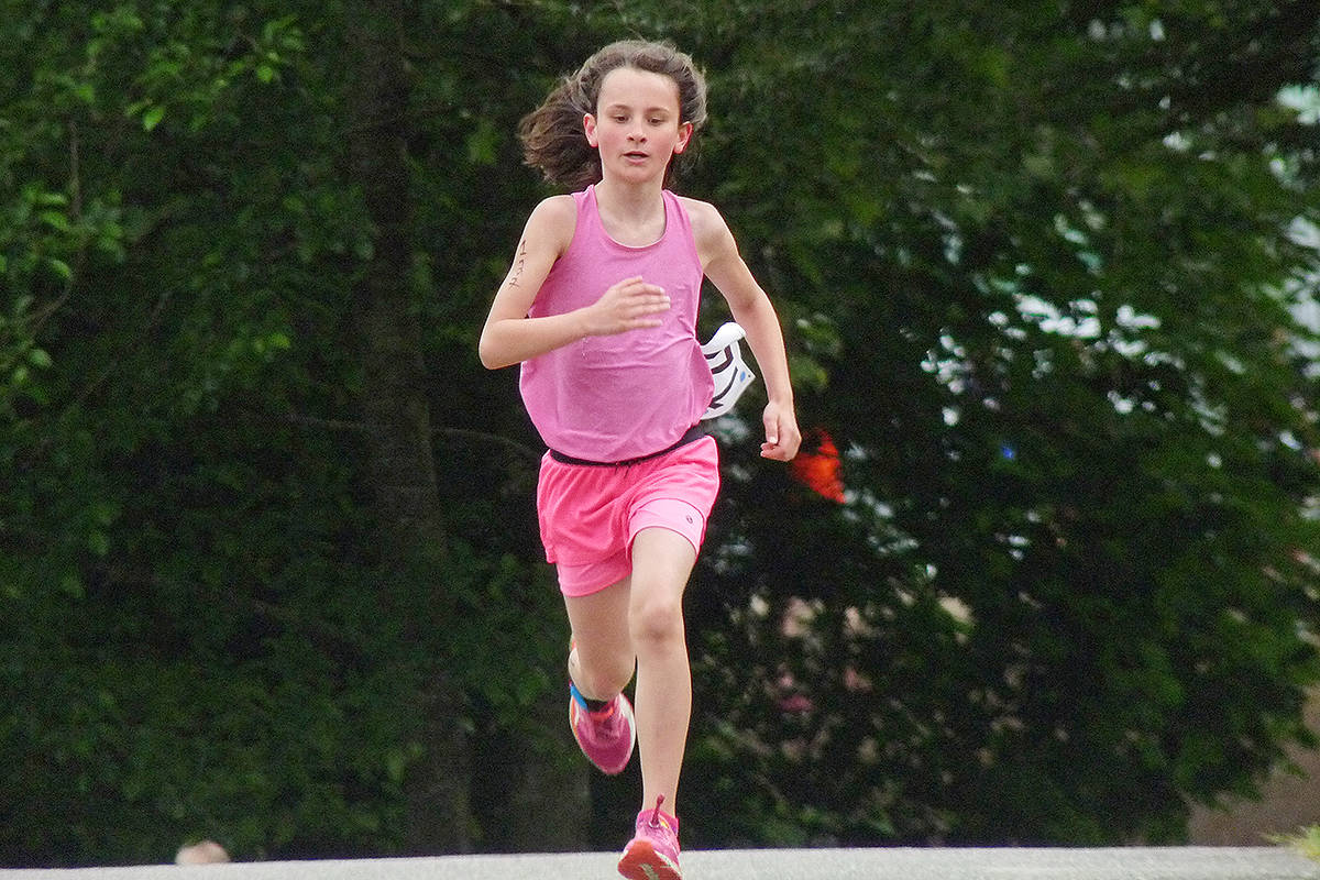 Josephine Soti of Cloverdale placed second in the 10-11 year category. Dan Ferguson Langley Times