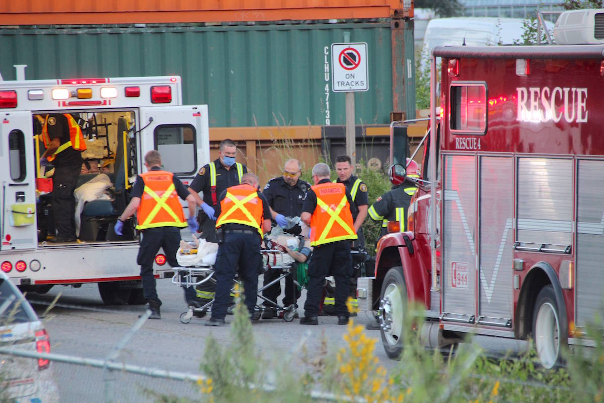 One person was rushed to hospital after they were hit by a train in Langley. Shane MacKichan photo