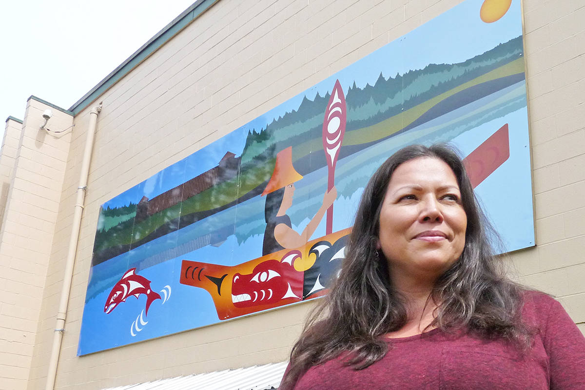 Artist Phyllis Atkins created a mural depicting the early relationship between the First Nations people and European settlers in the Fort Langley area. Dan Ferguson Langley Times