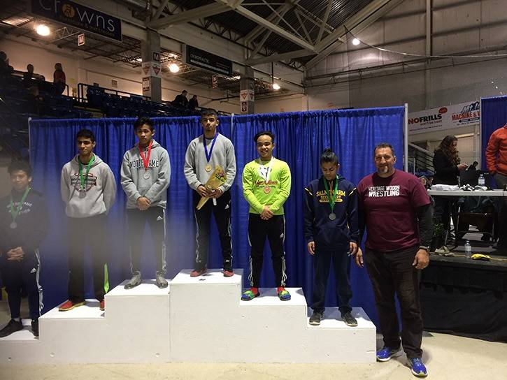 Langley's Pritpaul Johal (centre) the two-time BC provincial high school champion for his weight class, is one of two Langley wrestlers named to Team BC for the Canada Summer Games. Submitted photo