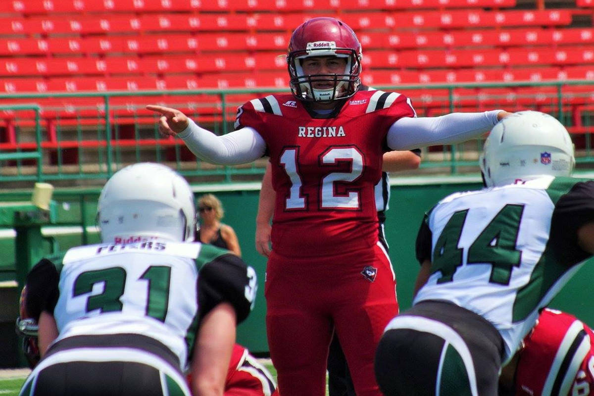 Aimee Kowalski, quarterback for the Regina Riot, is in Langley this week for the IFAF women's world tackle football championships at Langley's McLeod Athletic Park. photo courtesy of Darren Steinke StanksSports